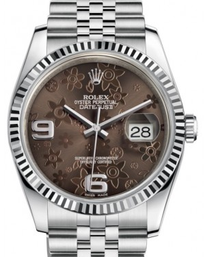 Rolex Datejust 36 White Gold/Steel Bronze Floral Motif Arabic Dial & Fluted Bezel Jubilee Bracelet 116234 - BRAND NEW