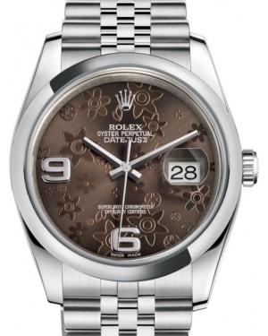 Rolex Datejust 36 Stainless Steel Bronze Floral Motif Arabic Dial & Smooth Domed Bezel Jubilee Bracelet 116200 - BRAND NEW