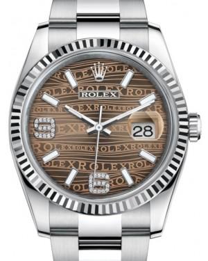 Rolex Datejust 36 White Gold/Steel Bronze Waves Diamond Dial & Fluted Bezel Oyster Bracelet 116234 - BRAND NEW