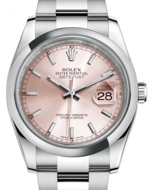 Rolex Datejust 36 Stainless Steel Pink Index Dial & Smooth Domed Bezel Oyster Bracelet 116200 - BRAND NEW