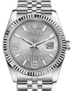 Rolex Datejust 36 White Gold/Steel Rhodium Waves Diamond Dial & Fluted Bezel Jubilee Bracelet 116234 - BRAND NEW