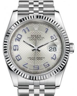 Rolex Datejust 36 White Gold/Steel Silver Deco Diagonal Motif Arabic Dial & Fluted Bezel Jubilee Bracelet 116234 - BRAND NEW