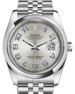 Rolex Datejust 36 Stainless Steel Silver Diagonal Motif Arabic Dial & Smooth Domed Bezel Jubilee Bracelet 116200 - BRAND NEW