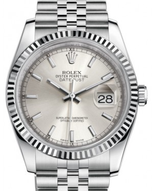 Rolex Datejust 36 White Gold/Steel Silver Index Dial & Fluted Bezel Jubilee Bracelet 116234 - BRAND NEW