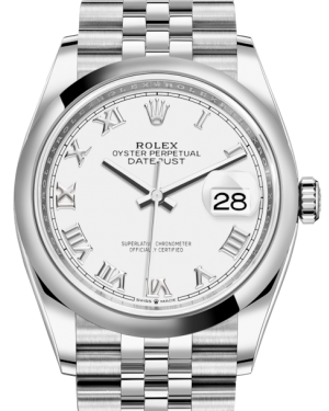 Rolex Datejust 36 Stainless Steel White Roman Dial & Smooth Domed Bezel Jubilee Bracelet 126200 - BRAND NEW