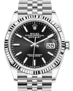 Rolex Datejust 36 White Gold Black Index Dial & Fluted Bezel Jubilee Bracelet 126234 - BRAND NEW