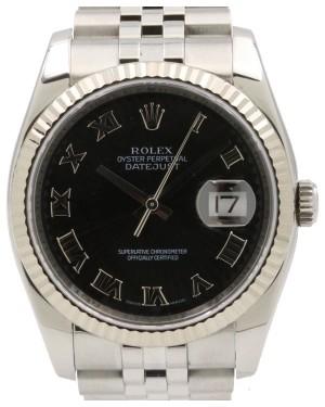 Rolex Datejust 36 White Gold/Steel Black Roman Dial & Fluted Bezel Jubilee Bracelet 116234 - PRE-OWNED