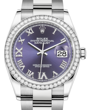 Rolex Datejust 36 White Gold/Steel Aubergine Roman & Diamond Dial & Diamond Bezel Oyster Bracelet 126284RBR - BRAND NEW
