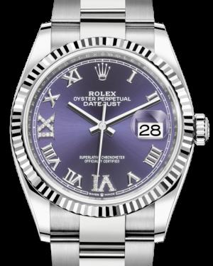 Rolex Datejust 36 White Gold/Steel Aubergine Roman VI/IX Diamond Dial & Fluted Bezel Oyster Bracelet 126234 - BRAND NEW