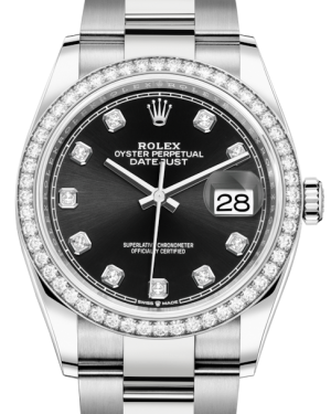 Rolex Datejust 36 White Gold/Steel Black Diamond Dial & Diamond Bezel Oyster Bracelet 126284RBR - BRAND NEW