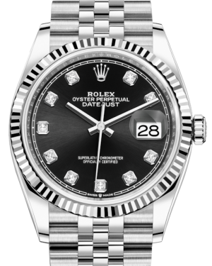 Rolex Datejust 36 White Gold/Steel Black Diamond Dial & Fluted Bezel Jubilee Bracelet 126234 - BRAND NEW