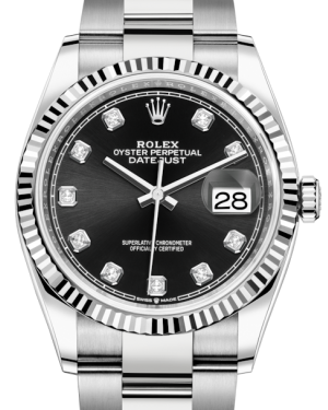 Rolex Datejust 36 White Gold/Steel Black Diamond Dial & Fluted Bezel Oyster Bracelet 126234 - BRAND NEW