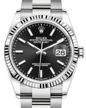 Rolex Datejust 36 White Gold/Steel Black Index Dial & Fluted Bezel Oyster Bracelet 126234 - BRAND NEW