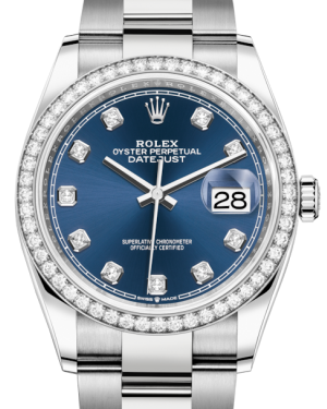 Rolex Datejust 36 White Gold/Steel Blue Diamond Dial & Diamond Bezel Oyster Bracelet 126284RBR - BRAND NEW