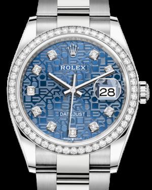 Rolex Datejust 36 White Gold/Steel Blue Jubilee Diamond Dial & Diamond Bezel Oyster Bracelet 126284RBR - BRAND NEW