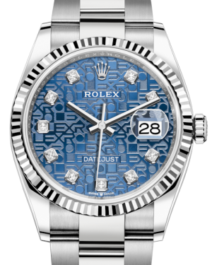 Rolex Datejust 36 White Gold/Steel Blue Jubilee Diamond Dial & Fluted Bezel Oyster Bracelet 126234 - BRAND NEW