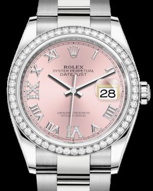 Rolex Datejust 36 White Gold/Steel Pink Roman & Diamond Dial & Diamond Bezel Oyster Bracelet 126284RBR - BRAND NEW