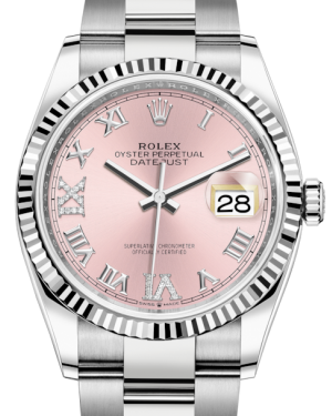 Rolex Datejust 36 White Gold/Steel Pink Roman & Diamond Dial & Fluted Bezel Oyster Bracelet 126234 - BRAND NEW
