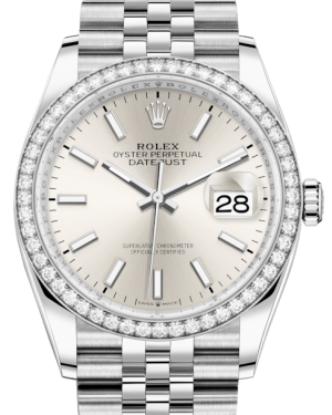 Rolex Datejust 36 White Gold/Steel Silver Index Dial & Diamond Bezel Jubilee Bracelet 126284RBR - BRAND NEW