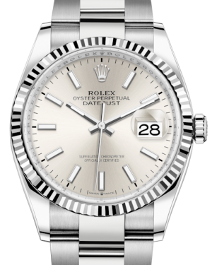 Rolex Datejust 36 White Gold/Steel Silver Index Dial & Fluted Bezel Oyster Bracelet 126234 - BRAND NEW