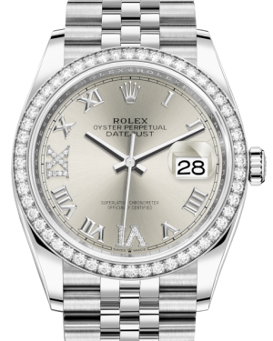 Rolex Datejust 36 White Gold/Steel Silver Roman & Diamond Dial & Diamond Bezel Jubilee Bracelet 126284RBR - BRAND NEW