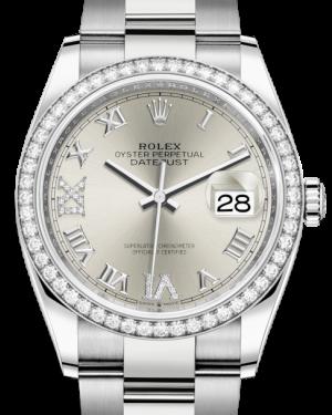 Rolex Datejust 36 White Gold/Steel Silver Roman & Diamond Dial & Diamond Bezel Oyster Bracelet 126284RBR - BRAND NEW
