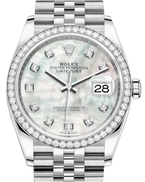 Rolex Datejust 36 White Gold/Steel White Mother of Pearl Diamond Dial & Diamond Bezel Jubilee Bracelet 126284RBR - BRAND NEW