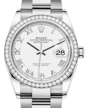 Rolex Datejust 36 White Gold/Steel White Roman Dial & Diamond Bezel Oyster Bracelet 126284RBR - BRAND NEW
