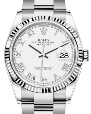 Rolex Datejust 36 White Gold/Steel White Roman Dial & Fluted Bezel Oyster Bracelet 126234 - BRAND NEW