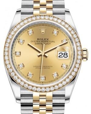 Rolex Datejust 36 Yellow Gold/Steel Champagne Diamond Dial & Diamond Bezel Jubilee Bracelet 126283RBR - BRAND NEW