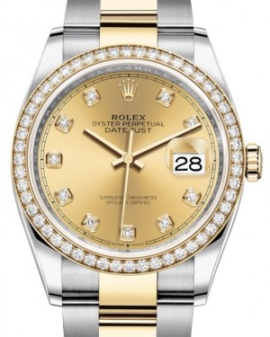 Rolex Datejust 36 Yellow Gold/Steel Champagne Diamond Dial & Diamond Bezel Oyster Bracelet 126283RBR - BRAND NEW