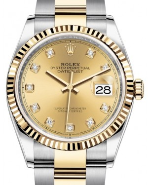 Rolex Datejust 36 Yellow Gold/Steel Champagne Diamond Dial & Fluted Bezel Oyster Bracelet 126233 - BRAND NEW