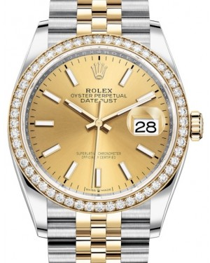 Rolex Datejust 36 Yellow Gold/Steel Champagne Index Dial & Diamond Bezel Jubilee Bracelet 126283RBR - BRAND NEW