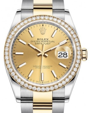 Rolex Datejust 36 Yellow Gold/Steel Champagne Index Dial & Diamond Bezel Oyster Bracelet 126283RBR - BRAND NEW