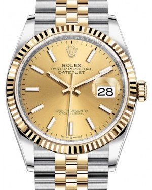 Rolex Datejust 36 Yellow Gold/Steel Champagne Index Dial & Fluted Bezel Jubilee Bracelet 126233 - BRAND NEW