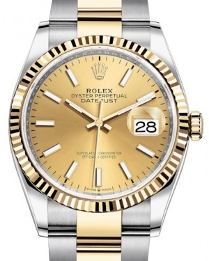Rolex Datejust 36 Yellow Gold/Steel Champagne Index Dial & Fluted Bezel Oyster Bracelet 126233 - BRAND NEW