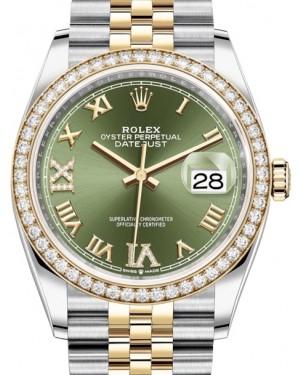 Rolex Datejust 36 Yellow Gold/Steel Olive Green Roman Diamond VI Dial & Diamond Bezel Jubilee Bracelet 126283RBR - BRAND NEW
