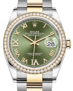 Rolex Datejust 36 Yellow Gold/Steel Olive Green Roman Diamond VI Dial & Diamond Bezel Oyster Bracelet 126283RBR - BRAND NEW