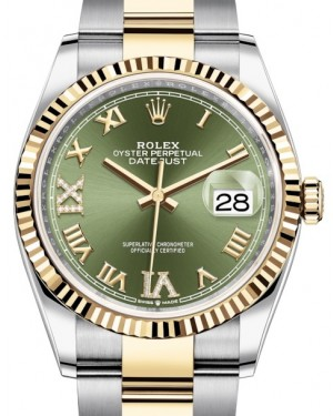 Rolex Datejust 36 Yellow Gold/Steel Olive Green Roman Diamond VI Dial & Fluted Bezel Oyster Bracelet 126233 - BRAND NEW
