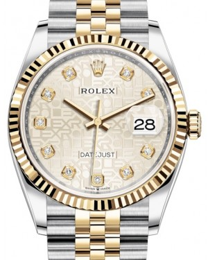 Rolex Datejust 36 Yellow Gold/Steel Silver Jubilee Diamond Dial & Fluted Bezel Jubilee Bracelet 126233 - BRAND NEW