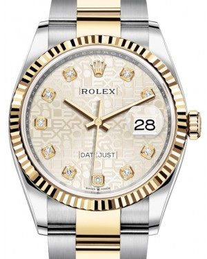 Rolex Datejust 36 Yellow Gold/Steel Silver Jubilee Diamond Dial & Fluted Bezel Oyster Bracelet 126233 - BRAND NEW