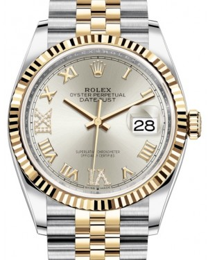Rolex Datejust 36 Yellow Gold/Steel Silver Roman Diamond VI Dial & Fluted Bezel Jubilee Bracelet 126233 - BRAND NEW