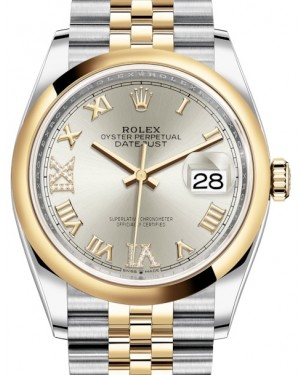 Rolex Datejust 36 Yellow Gold/Steel Silver Roman Diamond VI Dial & Smooth Domed Bezel Jubilee Bracelet 126203 - BRAND NEW
