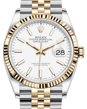 Rolex Datejust 36 Yellow Gold/Steel White Index Dial & Fluted Bezel Jubilee Bracelet 126233 - BRAND NEW