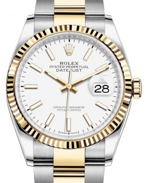 Rolex Datejust 36 Yellow Gold/Steel White Index Dial & Fluted Bezel Oyster Bracelet 126233 - BRAND NEW