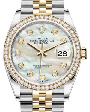 Rolex Datejust 36 Yellow Gold/Steel White Mother of Pearl Diamond Dial & Diamond Bezel Jubilee Bracelet 126283RBR - BRAND NEW