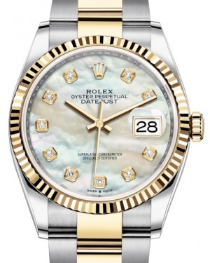 Rolex Datejust 36 Yellow Gold/Steel White Mother of Pearl Diamond Dial & Fluted Bezel Oyster Bracelet 126233 - BRAND NEW