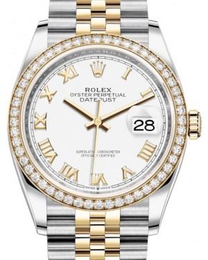 Rolex Datejust 36 Yellow Gold/Steel White Roman Dial & Diamond Bezel Jubilee Bracelet 126283RBR - BRAND NEW