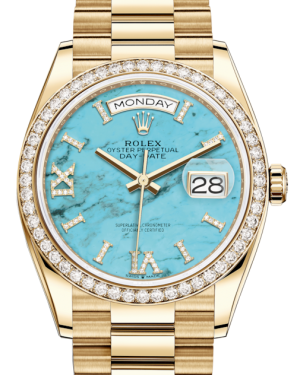 Rolex Day-Date 36 Yellow Gold Turquoise Diamond Dial & Diamond Bezel President Bracelet 128348RBR - BRAND NEW