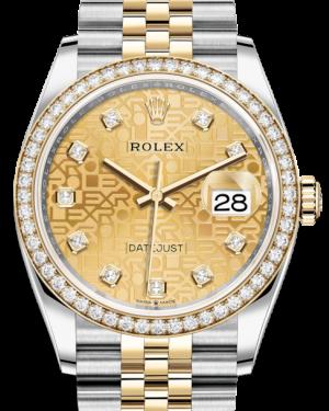 Rolex Datejust 36 Yellow Gold/Steel Champagne Jubilee Diamond Dial & Diamond Bezel Jubilee Bracelet 126283RBR - BRAND NEW